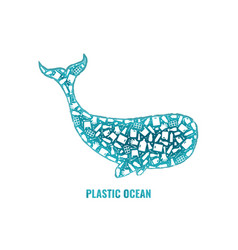 whale stop ocean plastic pollution concept vector image