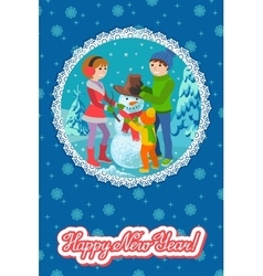 Winter card congratulation new vector