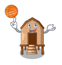 With basketball cartoon chicken the in coop shape vector