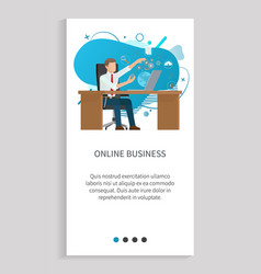 worker strategy online business laptop vector image