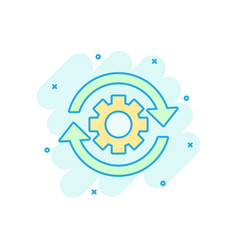 workflow process icon in comic style gear cog vector image