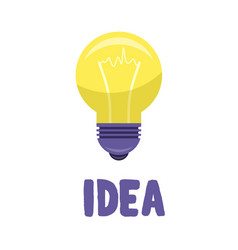 Yellow bulb isolated on white presenting idea vector