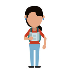Young girl with traveling map and backpack shadow vector
