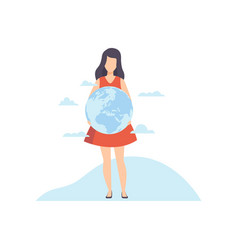 young woman holding earth globe in her hands vector image