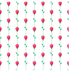 red rose with stem and leaves seamless pattern vector image