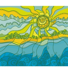 decorative of summer sea shore vector image