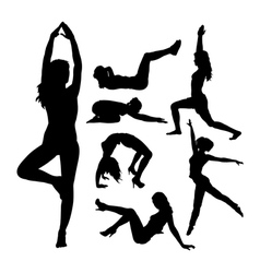 Fit girl fitness sport activity silhouettes vector