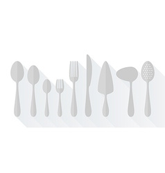Set of flat icons cutlery vector image