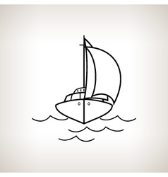 Silhouette yacht on a light background vector image