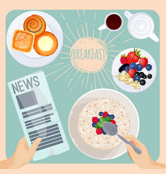 breakfast table with food and newspaper vector image
