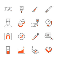 diabetes treatment signs thin line icons set vector image vector image