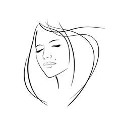 girl head eye ear hair lips neck vector image