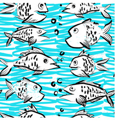 ink hand drawn seamless pattern with funny fishes vector image