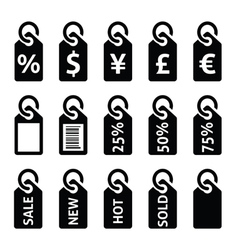 Shopping price tag sale icons set vector image