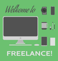 welcome to freelance desktop creative elements 3 vector image