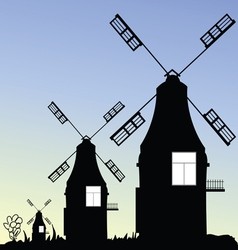 windmill three in black vector image