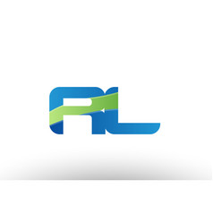 Blue green rl r l alphabet letter logo vector