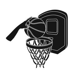 hand with a ball near the basketbasketball single vector image vector image