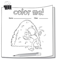 A worksheet showing a boy and a haystack vector image