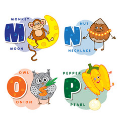 alphabet children colored letter m n o p vector image