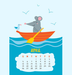 April calendar page with cute rat in travel vector