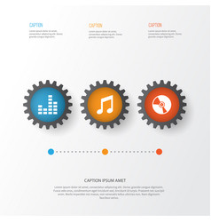 Audio icons set collection of equalizer music vector