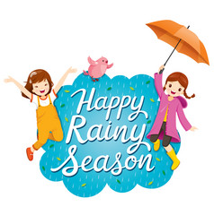 Banner of happy rainy season with two girls vector