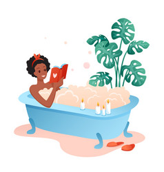 Bath time flat cartoon happy vector