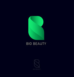 bio beauty monogram letter b open book and life vector image