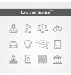 Black Law and justice icons vector