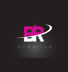 Br b r creative letters design with white pink vector