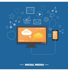 Business software and social media networking vector