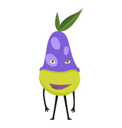 cartoon character superhero pear in mask vector image