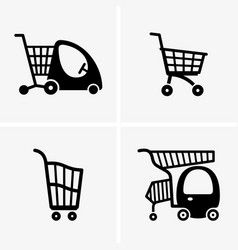 Children shopping carts vector