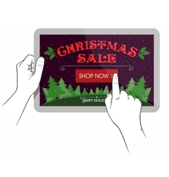 Christmas sale on touchpad screen vector image