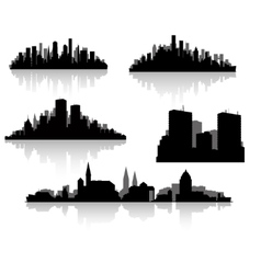 city silhouettes set vector image