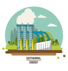 Color landscape image geothermal energy production vector