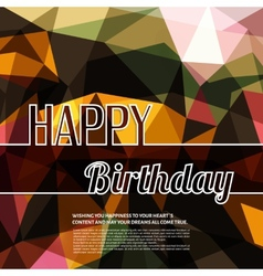 Colorful birthday wish on triangular background vector