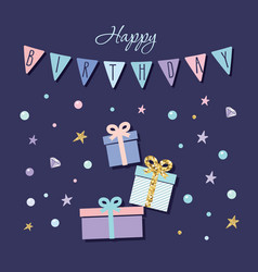 Cute birthday card with present boxes garland and vector