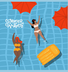 cute decorative summer vibes banner with swimming vector image