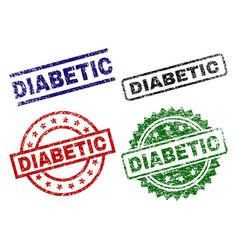 Damaged textured diabetic stamp seals vector
