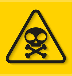 danger skull and bones sign on yellow background vector image