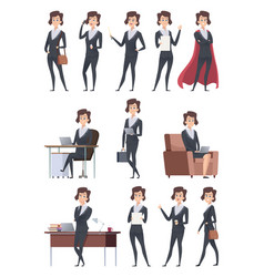 Female business characters company office workers vector