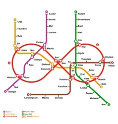 fictional metro map in shape infinity vector image