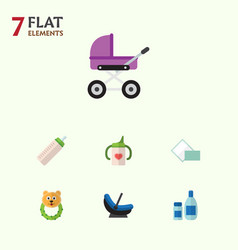 Flat child set of napkin stroller nursing bottle vector