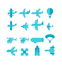 flat design plane set vector image