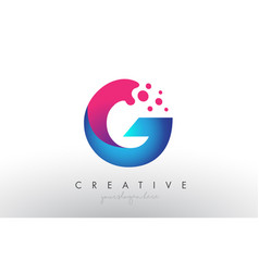 G letter design with creative dots bubble circles vector