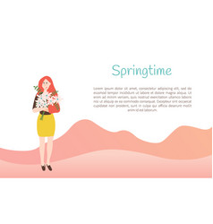 girl holding bouquet of daisies springtime vector image