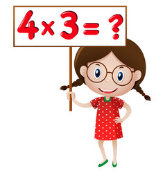 Girl holding sign with math problem vector