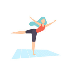girl practicing yoga asana physical workout vector image